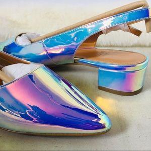 J. CREW Holographic slingback block heels